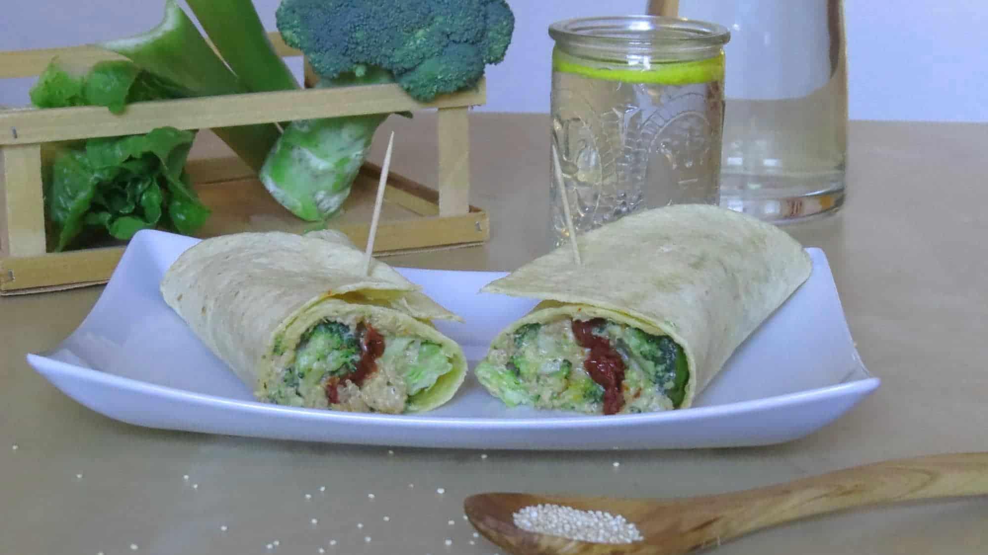 Quinoa-Brokkoli-Wrap mit Cashew-Käsesauce