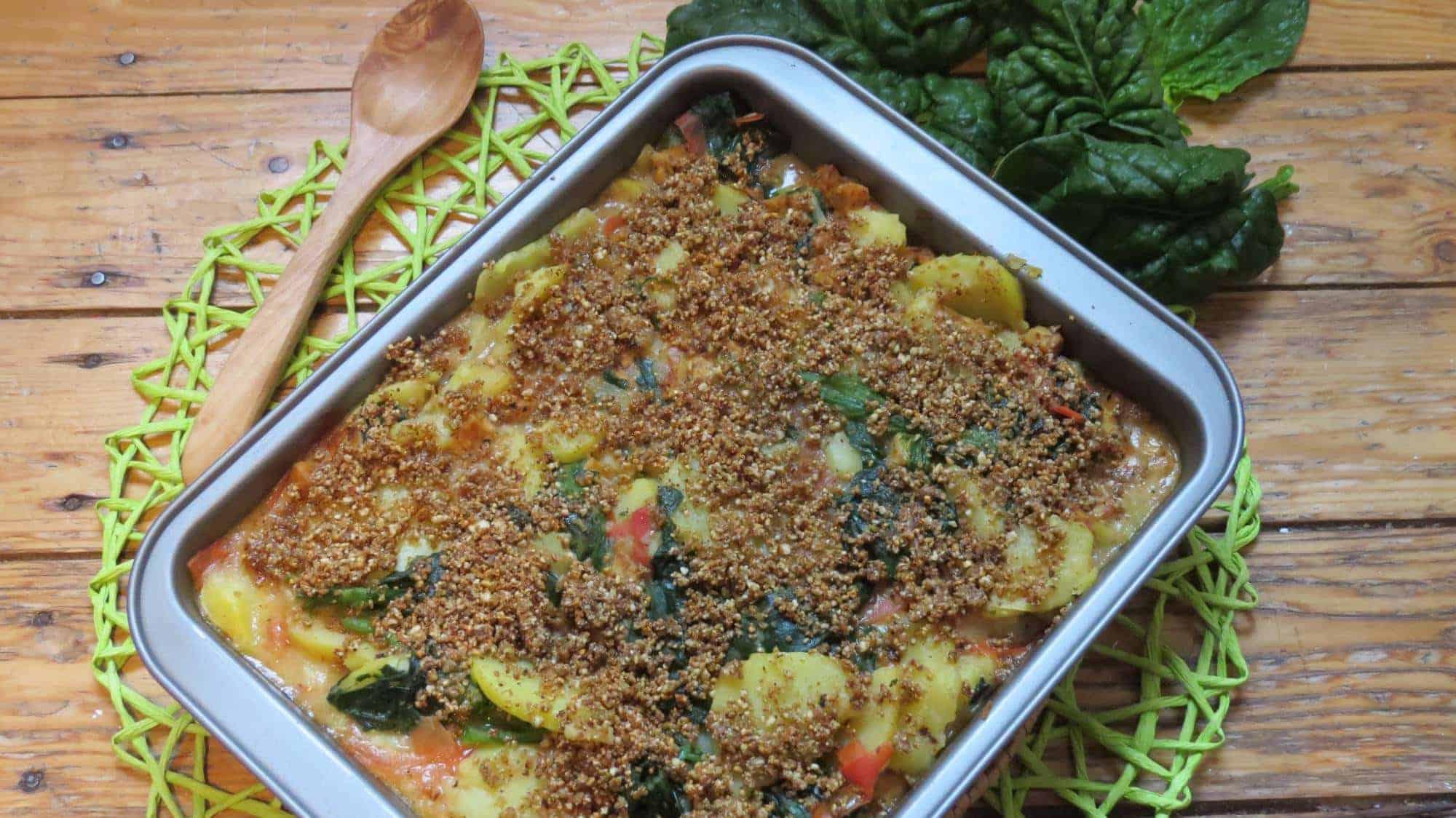 Spinat Kartoffelauflauf mit Tempeh