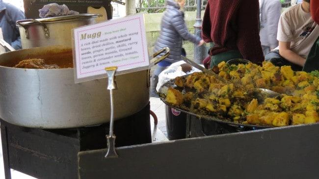 Vegane Indische Gerichte auf dem Borough Market