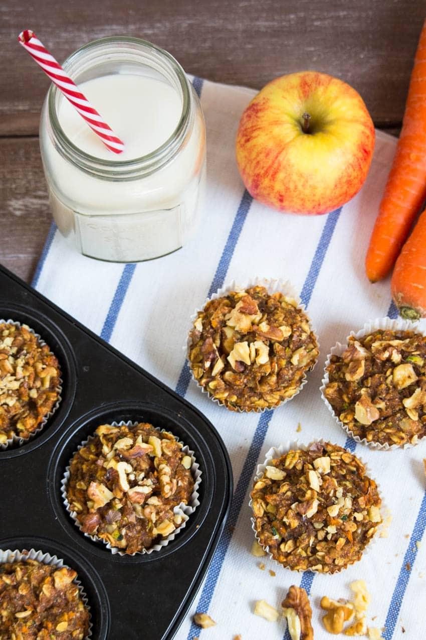 Vegane Karotten Zucchini Muffins