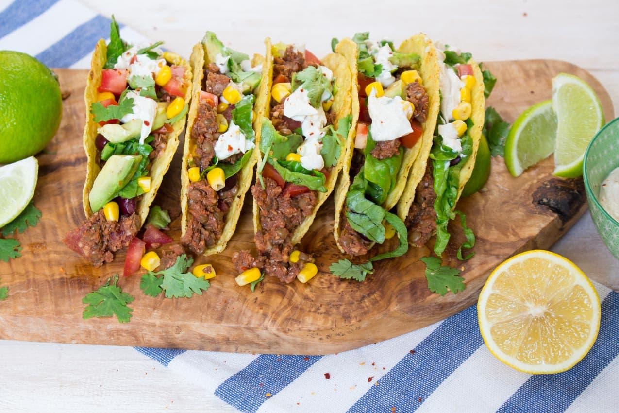 Vegane Tacos mit Linsen Walnuss Füllung