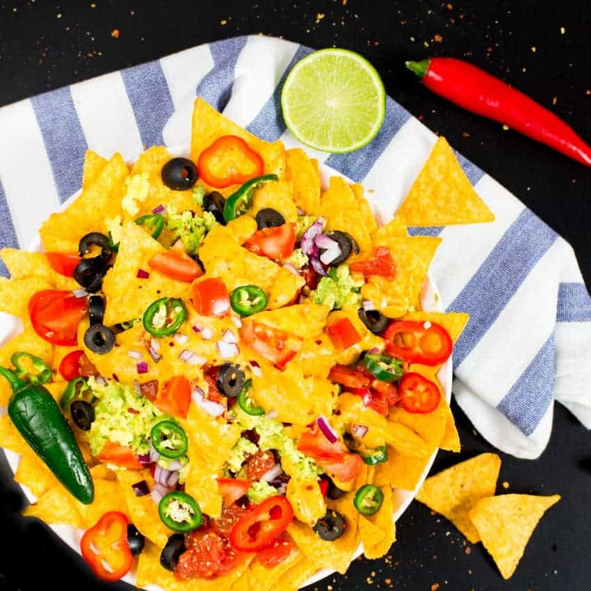 Pour it onto the nachos until they're nicely covered. Serve immediately.