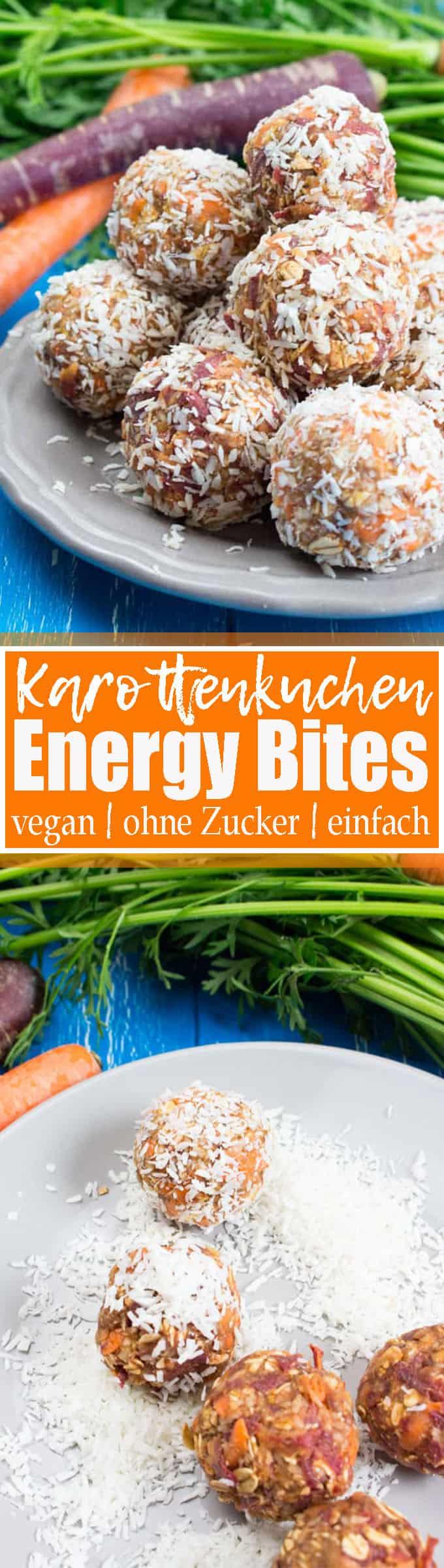 Gesunde Snacks? Dann sind diese Karottenkuchen Energy Bites genau richtig für euch! Sie sind vegan, ohne Zucker und super einfach zuzubereiten! Mehr vegetarische Rezepte und vegane Rezepte auf veganheaven.de! <3