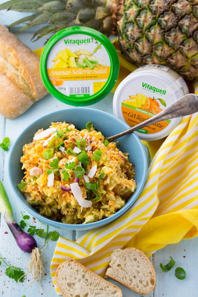 Curry Reissalat mit gegrillter Ananas