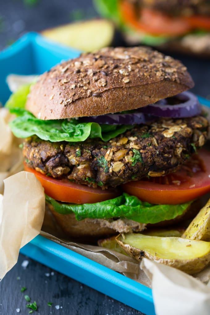 Veganer Pilz Burger