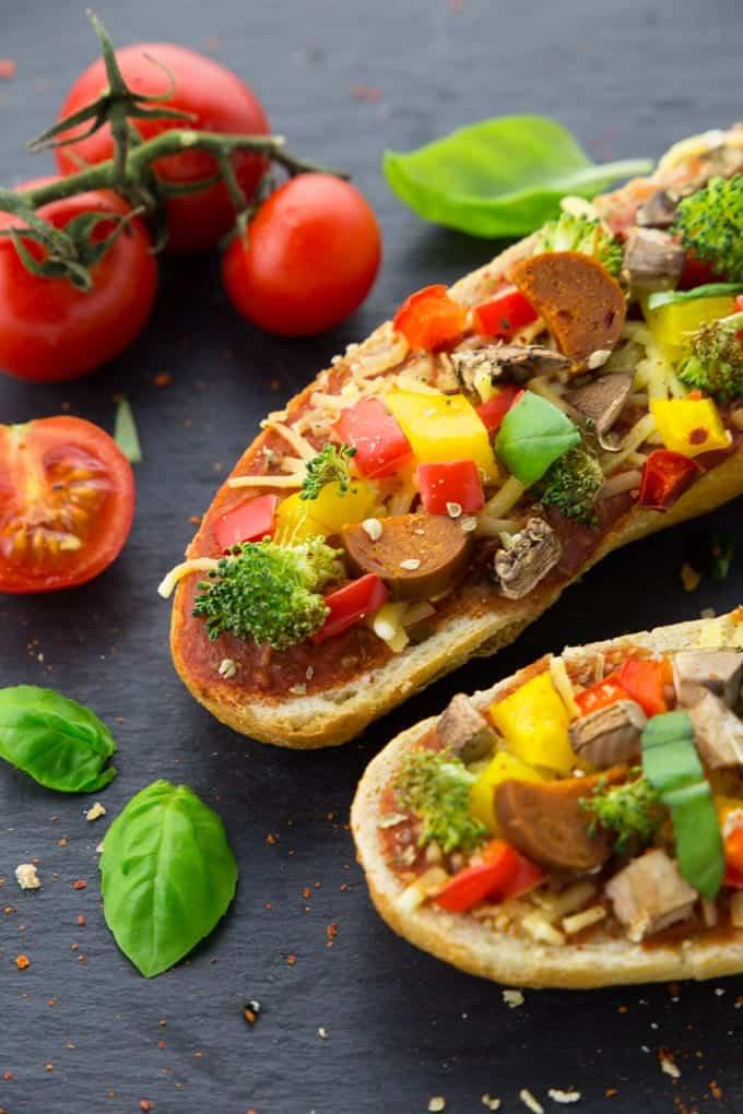 Veganes Pizza Baguette