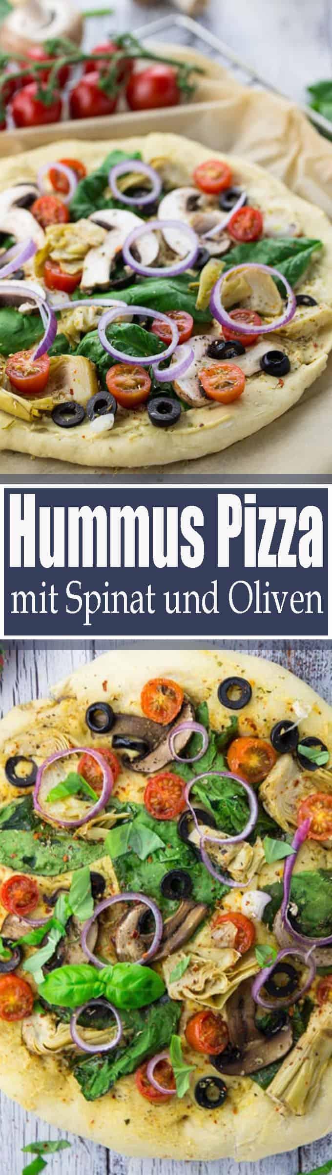 Wenn ihr auf der Suche nach einem leckeren Pizza Rezept seid, ist diese Hummus Pizza mit Spinat, Artichocken und Oliven genau richtig! Mehr vegetarische Rezepte und vegane Rezepte auf veganheaven.de! <3