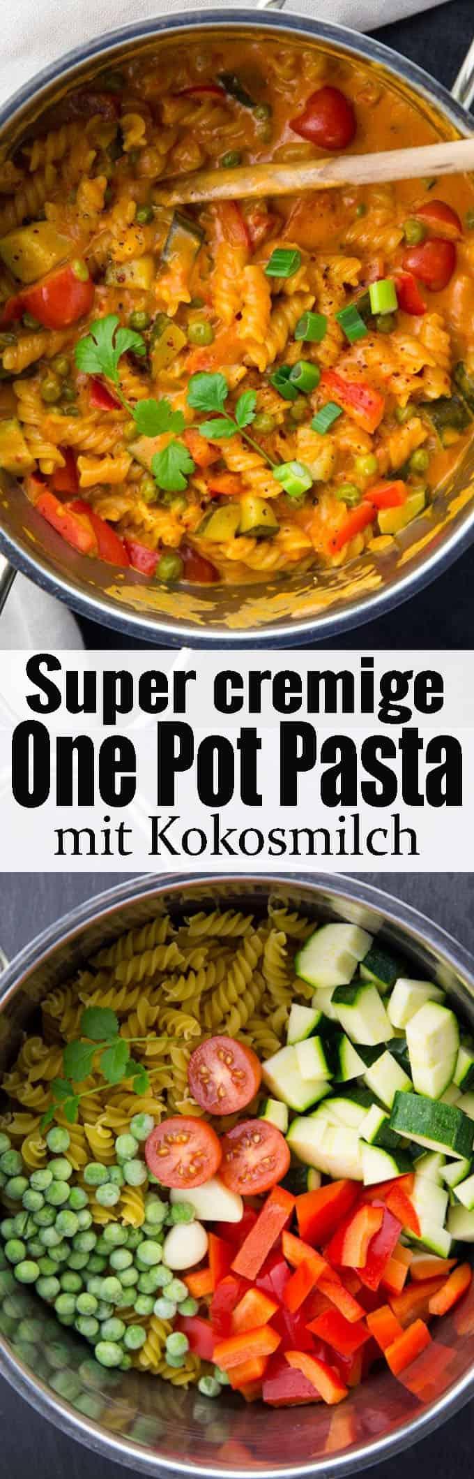 Einfaches One Pot Pasta Rezept gesucht? Diese vegane One Pot Pasta mit Kokosmilch und Currypaste ist nicht nur unglaublich lecker, sondern auch super cremig! Mehr vegane Rezepte auf veganheaven.de!