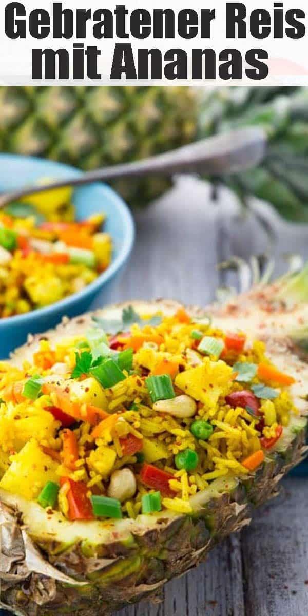 Dieser gebratener Reis mit Ananas erinnert mich einfach total an unseren letzten Thailand-Urlaub! Es ist eines meiner liebsten Rezepte mit Reis! Perfekt für ein schnelles Abendessen. Mehr vegane Rezepte findet ihr auf veganheaven.de!
