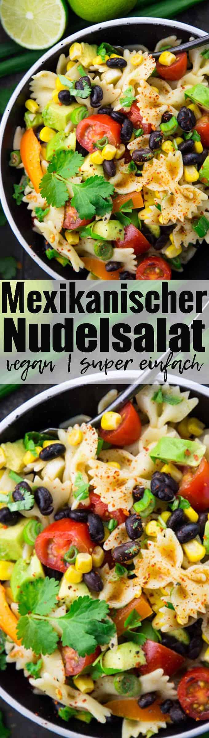 Dieser Nudelsalat mit schwarzen Bohnen, Avocado und Mais ist eines meiner Lieblingsrezepte. Mexikanische Rezepte gehen einfach immer!! Mehr vegetarische Rezepte und vegane Rezepte findet ihr auf veganheaven.de <3