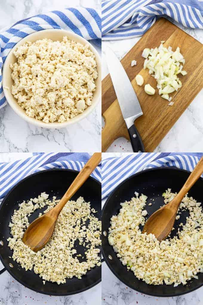 eine Collage aus vier Schritt für Schritt Fotos, die die Zubereitung von Chili sin Carne zeigen