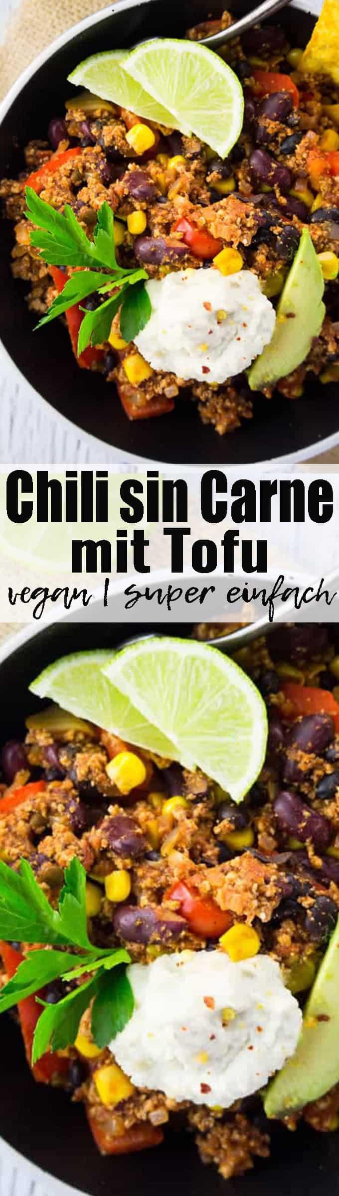 Dieses Chili sin Carne mit Tofu und Kidneybohnen ist eine richtige Proteinbombe! Vegan und super einfach zuzubereiten! Gesunde Rezepte können so lecker sein! Mehr vegane Rezepte auf veganheaven.de !