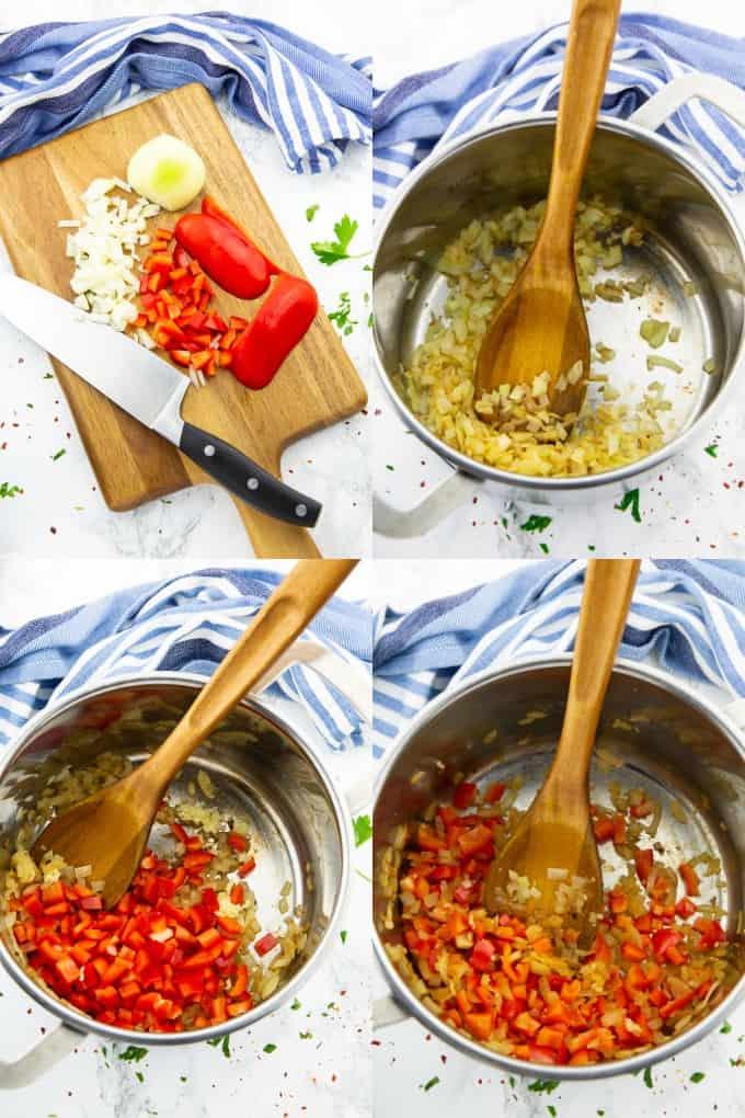 vier Fotos in einer Collage, die die Zubereitung von Djuvec Reis zeigen