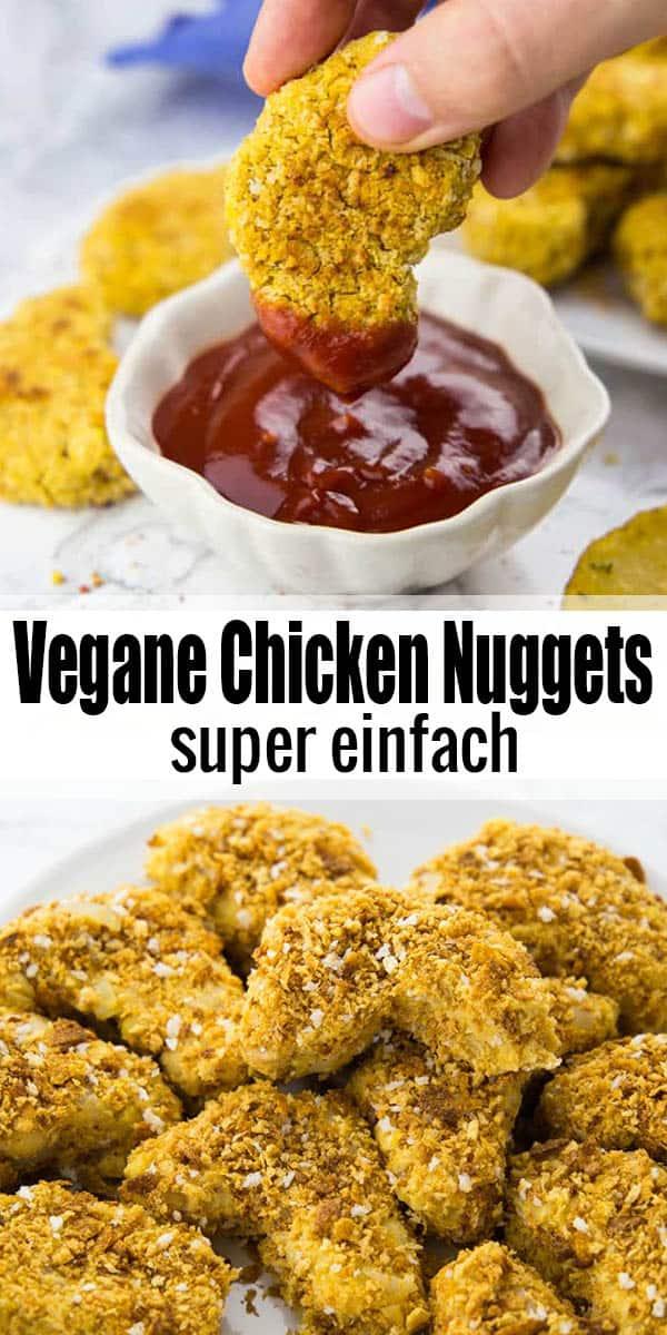 Vegane Chicken Nuggets kann man auch super selbst machen. Und zwar mit Kichererbsen! Auch ein tolles Rezept für Kinder! Mehr vegane Rezepte auf veganheaven.de ! #vegan #einfacheRezepte #Abendessen