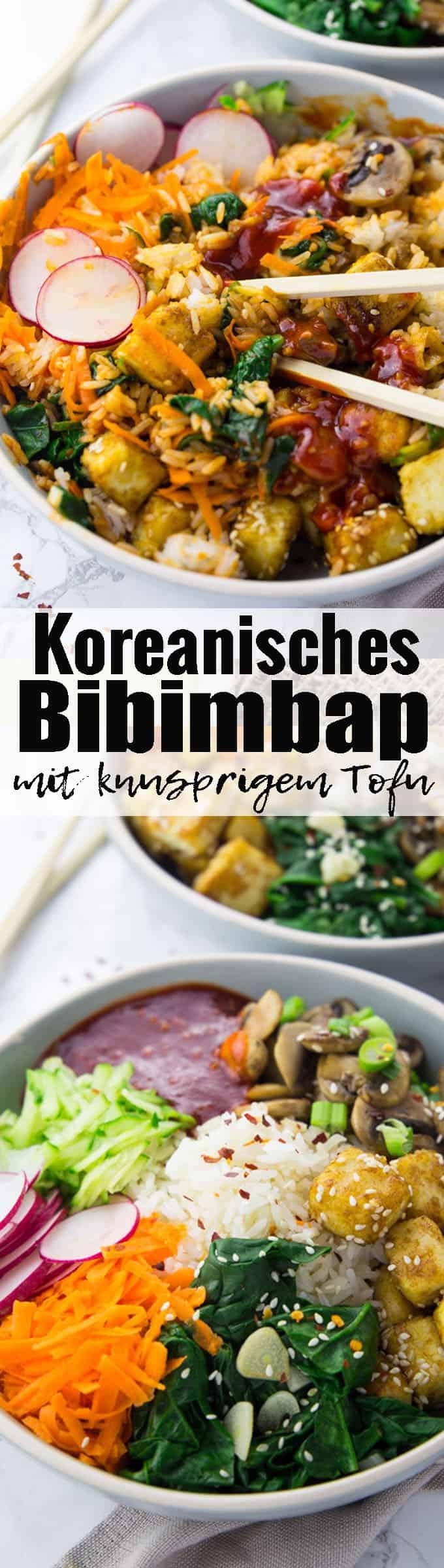 Ich liebe asiatische Rezepte! Dieses koreanisches Bibimbap mit knusprigem Sesam-Tofu, Spinat, Gurke und Karotten ist eines meiner Lieblingsrezepte. Mehr vegane Rezepte auf veganheaven.de <3