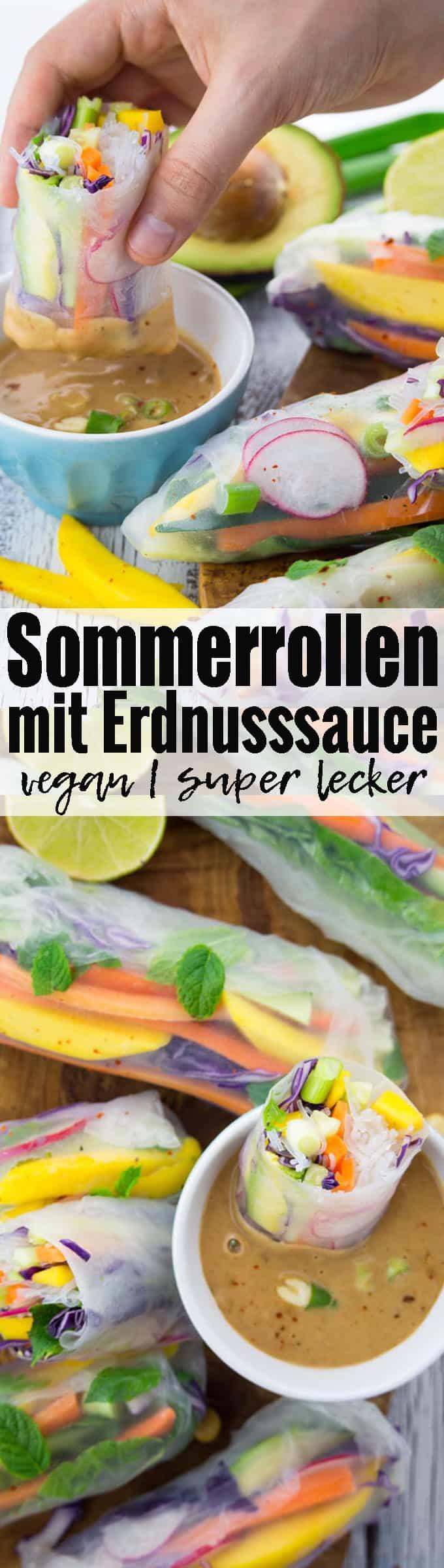 Sommerrollen mit Erdnusssauce gehen einfach immer! Super lecker, gesund und einfach zuzubereiten. Das perfekte Party Food! Mehr vegetarische Rezepte und vegane Rezepte auf veganheaven.de! <3