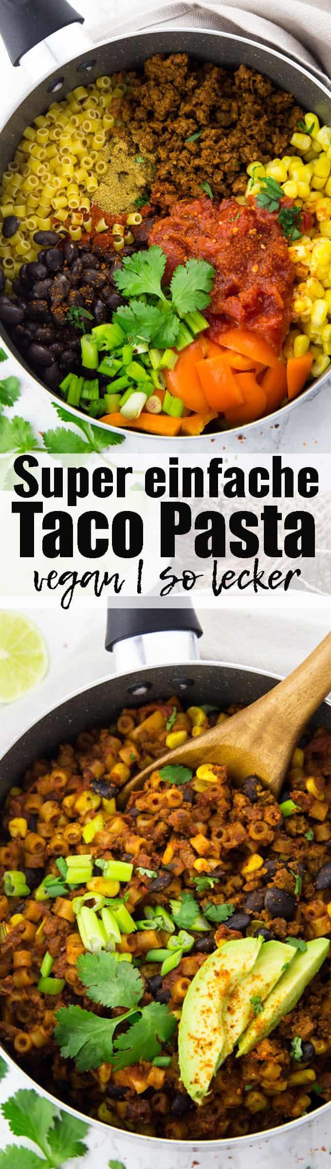 Super leckeres und einfaches veganes Rezept für Taco Pasta mit schwarzen Bohnen und Mais. So ein richtiges Wohlfühlessen und perfekt als schnelles Abendessen! Mehr vegane Rezepte findet ihr auf veganheaven.de !