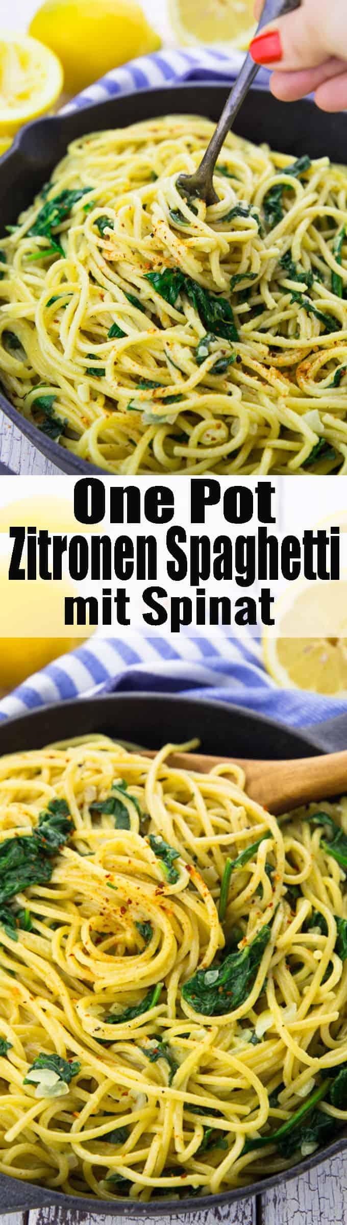 Super einfaches Rezept für Zitronenspaghetti mit Spinat. Nicht nur super lecker, sondern auch total einfach zuzubereiten und 100 Prozent vegan! Ich liebe One Pot Pasta Rezepte!! Mehr vegetarische Rezepte findet ihr auf veganheaven.de! <3