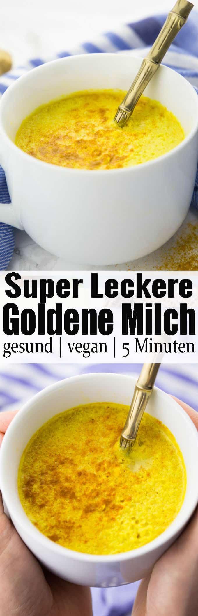 Goldene Milch mit Mandelmilch, Kurkuma und Ingwer ist nicht nur super lecker, sondern auch das perfekte Getränk gegen Erkältungen. Auch als Schlummertrunk vor dem Zubettgehen ist die Milch super! Gesunde Rezepte können so lecker sein! Mehr vegane Rezepte auf veganheaven.de!