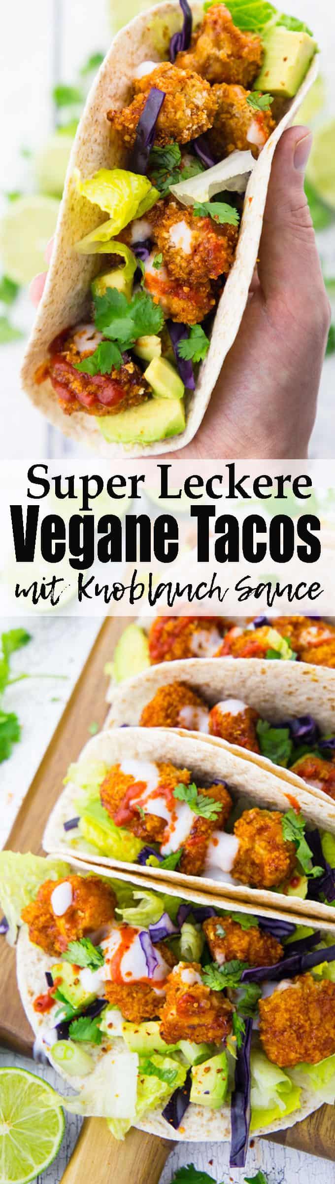 Tacos sind einfach so lecker! Diese vegane Variante mit BBQ Blumenkohl Wings, Avocado und Knoblauchsauce ist einfach das perfekte Abendessen. Knusprig, einfach zuzubereiten und mega lecker!! Mehr vegane Rezepte auf veganheaven.de!