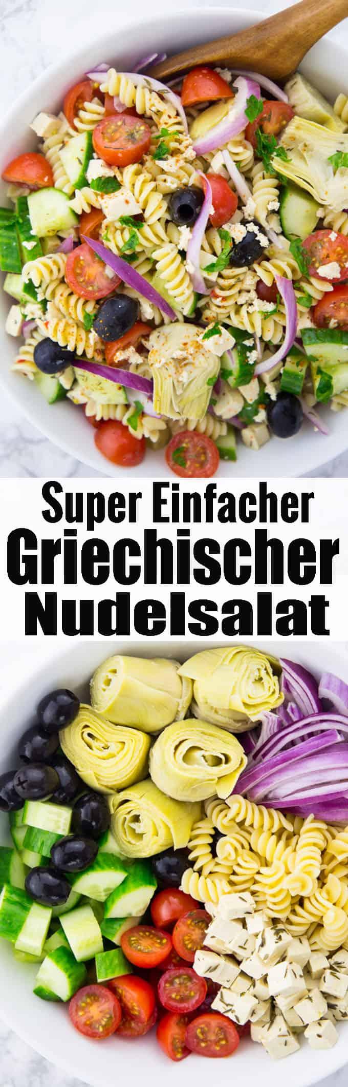 Leckere Nudelsalat Rezepte gesucht? Dieser griechischer Nudelsalat ist mein neuer Favorit! Super lecker, einfach und eines meiner liebsten Sommerrezepte! Mehr vegane Rezepte auf veganheaven.de!