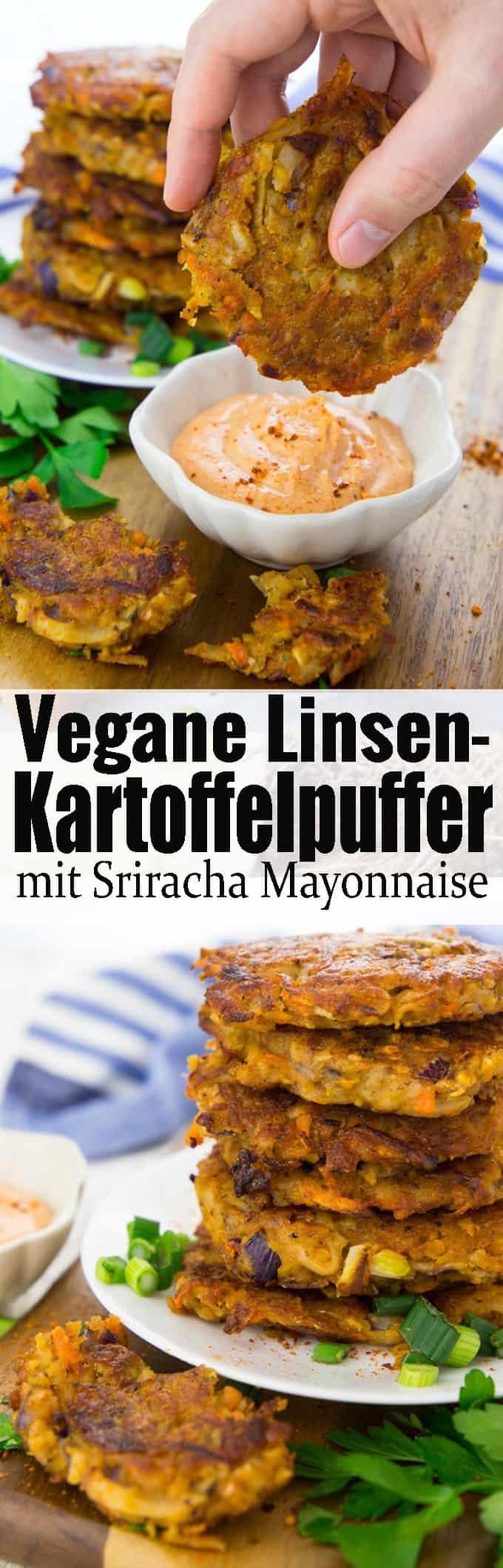 Super leckeres und einfaches Rezept für vegane Kartoffelpuffer mit roten Linsen! Ein leckeres und einfaches Abendessen! Mehr vegetarische Rezepte und vegane Rezepte auf veganheaven.de!