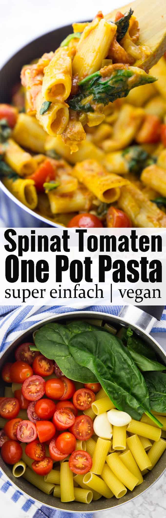 Einfache Nudel Rezepte gesucht? Diese One Pot Pasta mit Spinat und Tomaten sind super schnell gemacht, 100 % vegan und so lecker! Mehr vegetarische Rezepte und vegane Rezepte auf veganheaven.de!