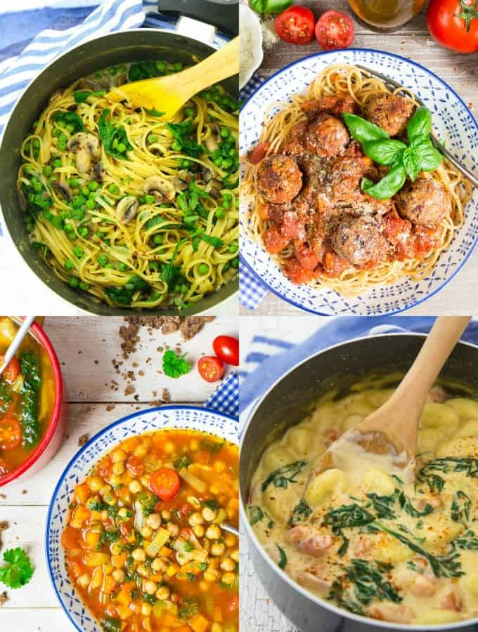 Vier vegane Rezepte in einer Collage