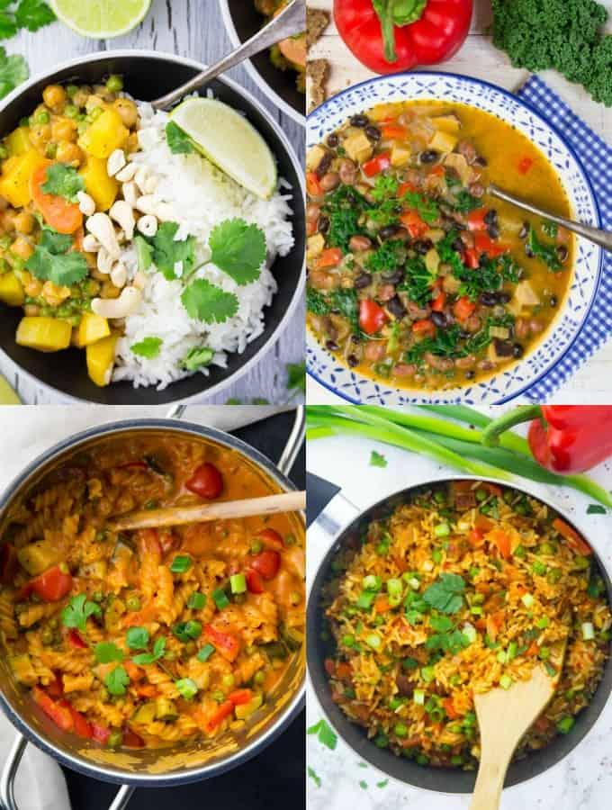 Eine Collage aus vier veganen Rezepten