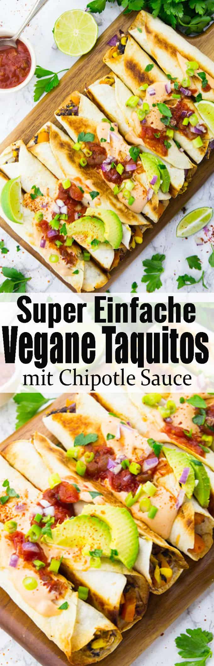 Leckere mexikanische Rezepte gesucht? Dann sind diese Taquitos mit Chipotle Sauce genau richtig für euch! Das perfekt Wohlfühlessen! Vegane Rezepte und vegetarische Rezepte können so lecker und einfach sein!! Mehr leckere Rezepte findet ihr auf veganheaven.de