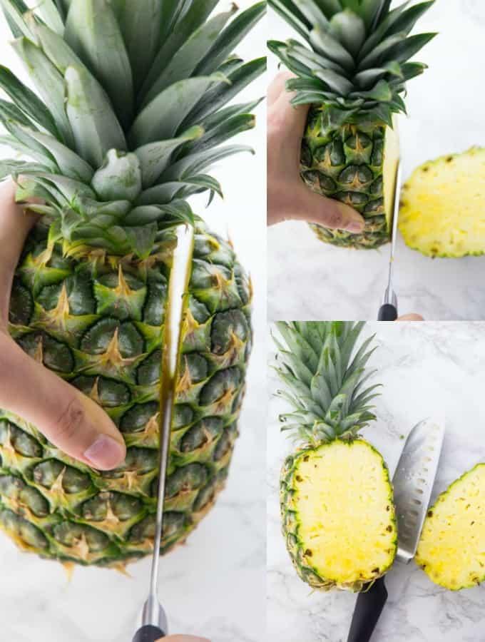 Ananas wird mit einem großen Küchenmesser geschnitten