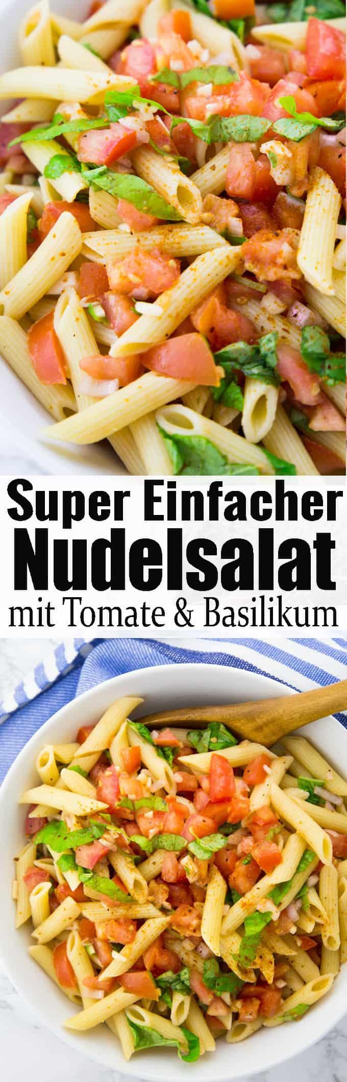 per leckerer und einfacher mediterraner Nudelsalat mit Tomate und Basilikum! Wenn ihr auf der Suche nach einem einfachen Nudelsalat zum Grillen seid, dann ist dieser italienische Nudelsalat perfekt für euch. Mehr leckere vegane Rezepte und Grillrezepte findet ihr auf meinem Blog veganheaven.de! #Nudelsalat #grillen #Sommerrezepte