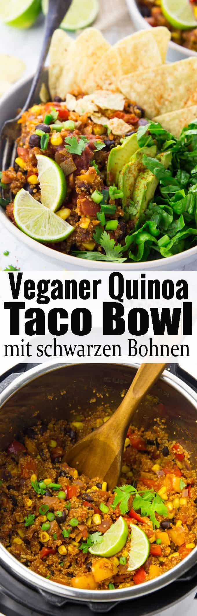 Dieser mexikanische Taco Bowl mit Quinoa, schwarzen Bohnen und Tortilla Chips ist nicht nur unglaublich lecker, sondern auch wahnsinnig gesund! Und noch dazu sehr einfach zuzubereiten. Super als einfaches Abendessen nach einem langen Tag! Mehr vegetarische Rezepte und vegane Rezepte auf veganheaven.de!