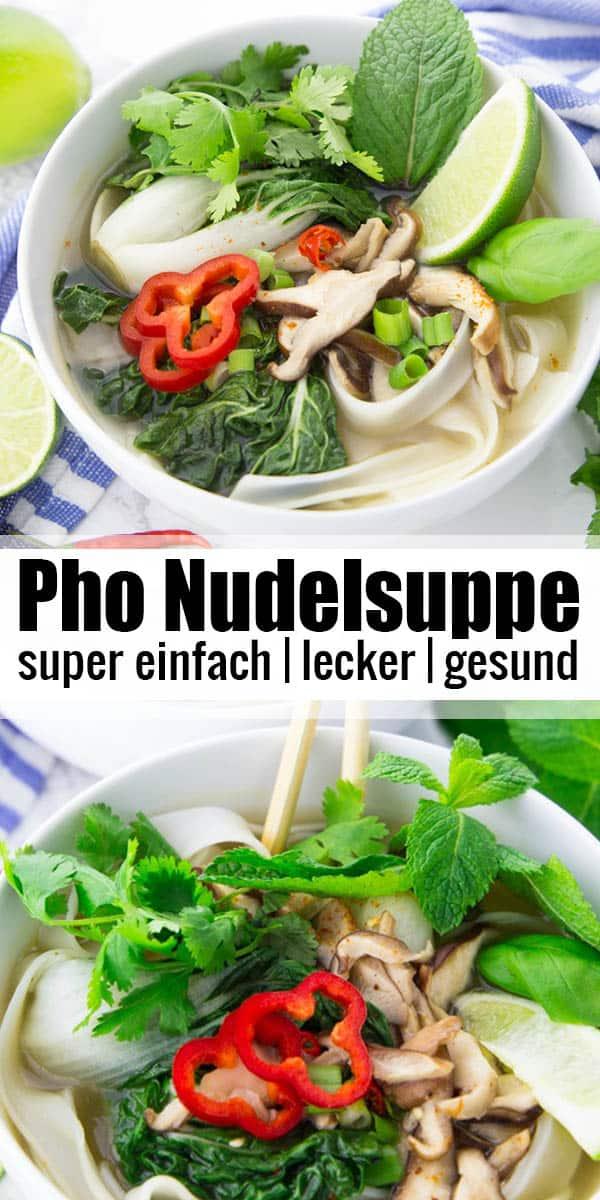 Diese Pho Nudelsuppe löst nicht nur eine kleine Geschmacksexplosion aus, sie ist auch noch super einfach zuzubereiten. Eines meiner liebsten Suppen Rezepte! Mehr einfache Rezepte? Dann schaut auf meinem Blog veganheaven.de vorbei. #pho #suppe #einfachrezepte