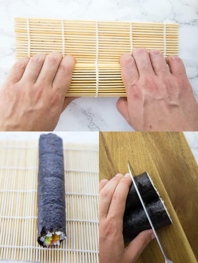 Sushirollen werden auf einer Bambusrolle gerollt und auf einem Holzbrett geschnitten