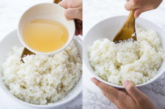 Reisweinessig wird mit Sushi Reis vermischt
