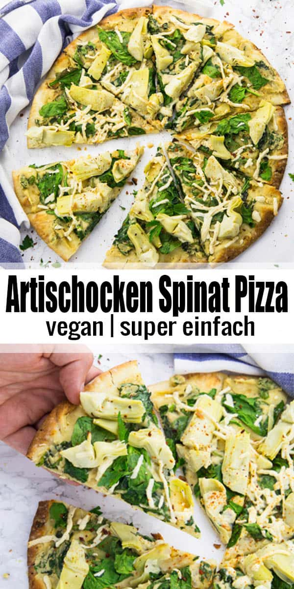 Vegane Pizza ist viel einfacher als gedacht! In diesem Beitrag findet ihr ein Grundrezept für einen veganen Pizzateig sowie leckere Ideen zum Belegen. Ich habe mich für eine Spinat Artischocken Pizza entschieden, die super lecker ist! #vegan #Pizza #veganerezepte