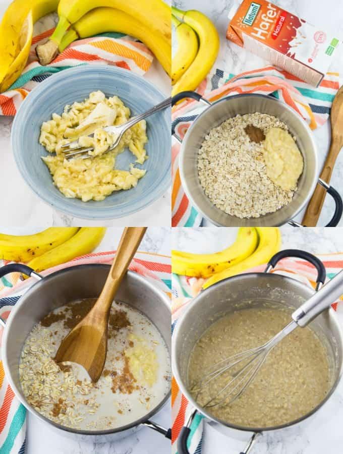 vier Schritt für Schritt Fotos, die die Zubereitung von Porridge zeigen