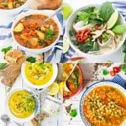 vier vegane Suppen in einer Collage