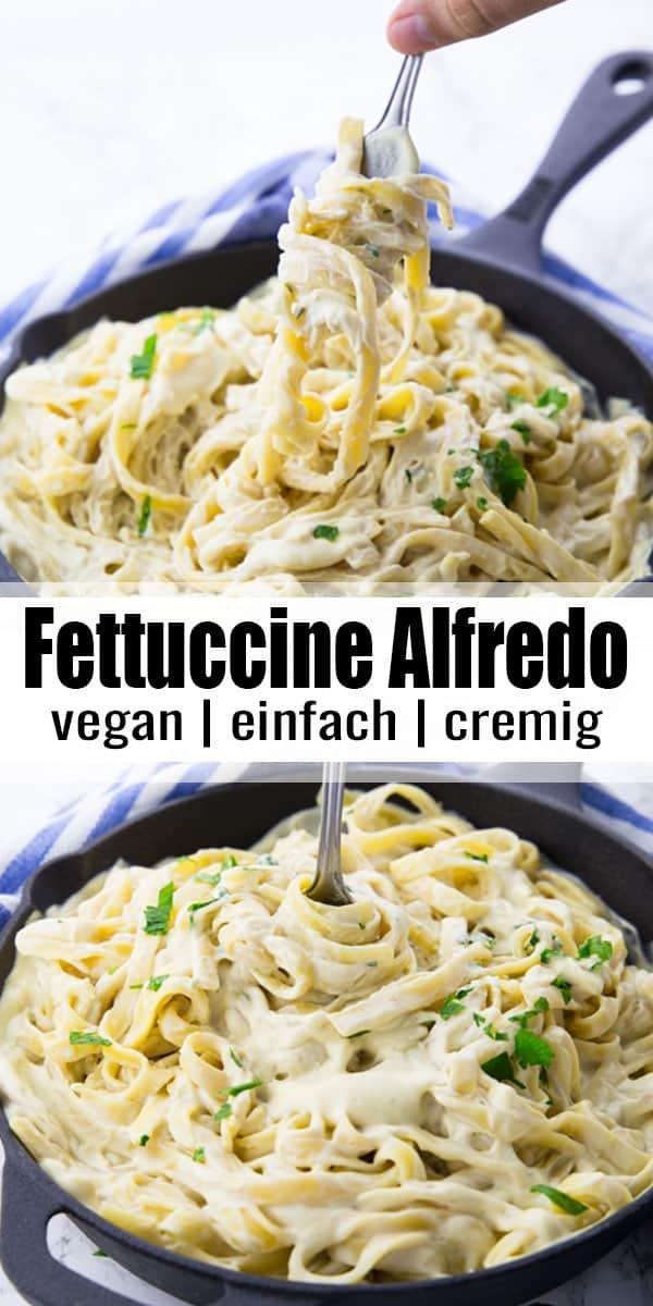Fettuccine Alfredo ist einfach das perfekte Wohlfühlgericht! Meine Pasta Alfredo ist unglaublich cremig und lecker, ganz ohne Butter und Sahne.  Eines meiner liebsten Nudelrezepte! #vegan #vegetarisch #Nudeln