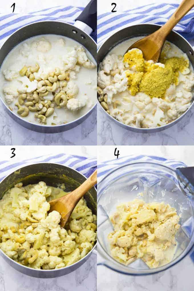 vier Schritt für Schritt Fotos, die die Zubereitung von Fettuccine Alfredo zeigen