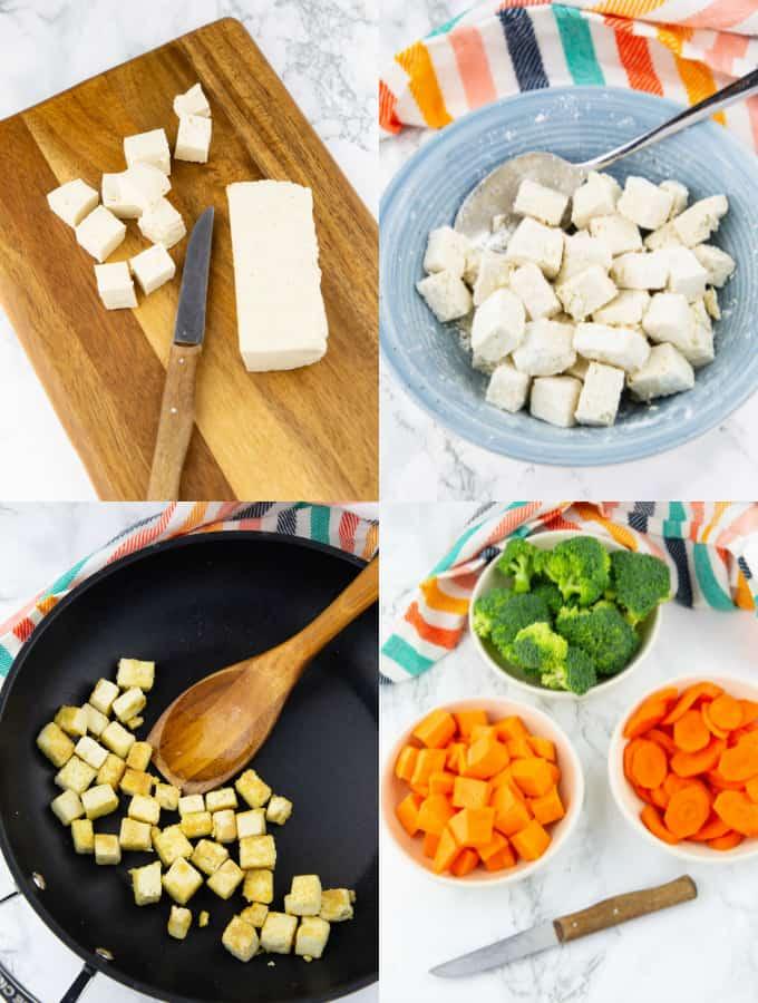 vier Fotos, die die Zubereitung von Gemüsecurry zeigt