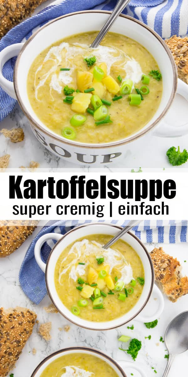 Kartoffelsuppe ist einfach das perfekte Wohlfühlessen für kalte Tage! Meine Kartoffelsuppe ist super cremig, sättigend und in unter 30 Minuten fertig! Ein super Abendessen und eines meiner liebsten Suppe Rezepte! #suppe #vegan #vegetarisch