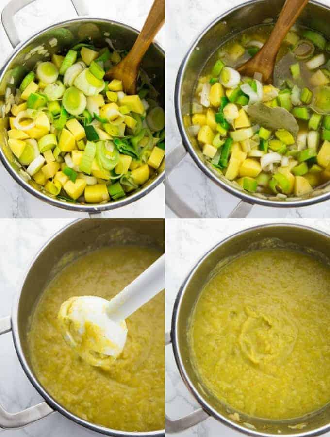 vier Schritt für Schritt Fotos, die die Zubereitung von Kartoffelsuppe zeigen