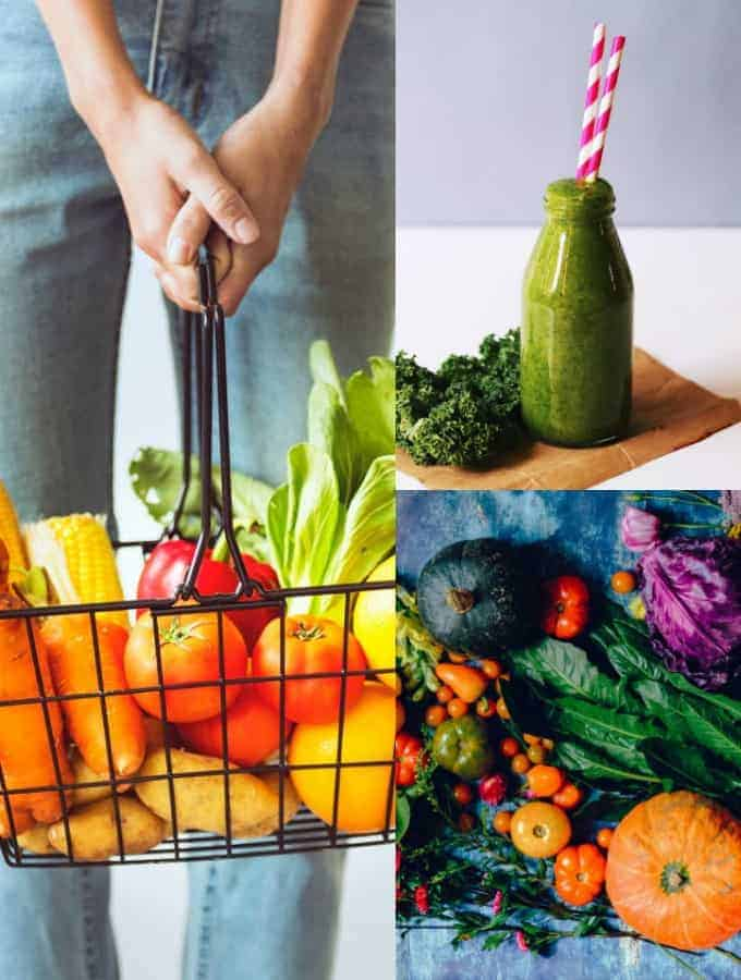 eine Collage aus drei Fotos von Gemüse und einem Smoothie zum Thema vegane Ernährung