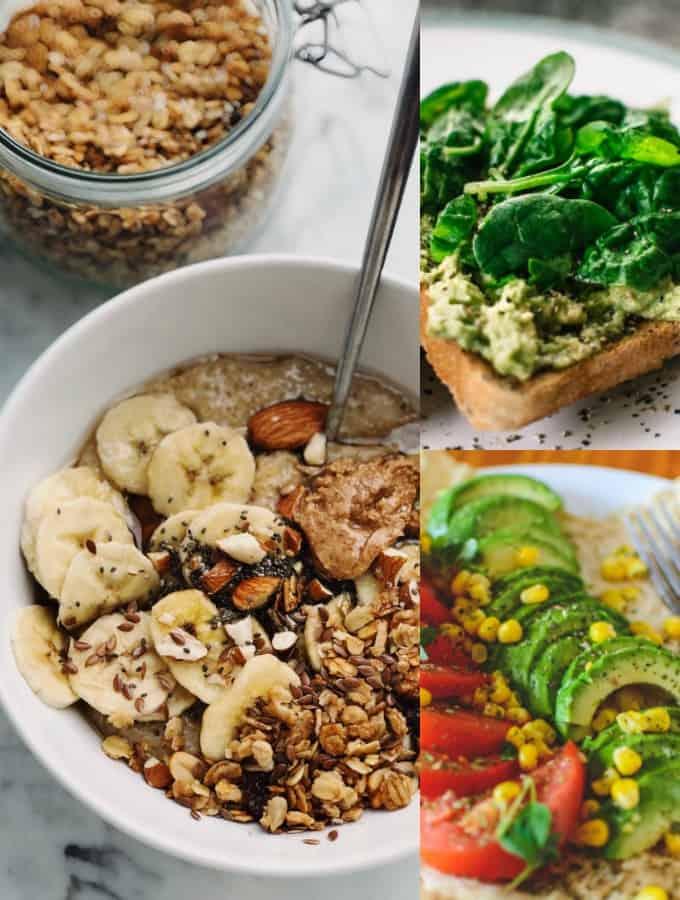 eine Collage aus drei Fotos von veganen Gerichten (Müsli, Toast, und Wrap mit Gemüse) zum Thema vegane Ernährung
