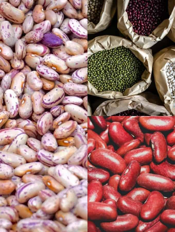 eine Collage aus drei Fotos, die verschiedene Sorten von Bohnen zeigen