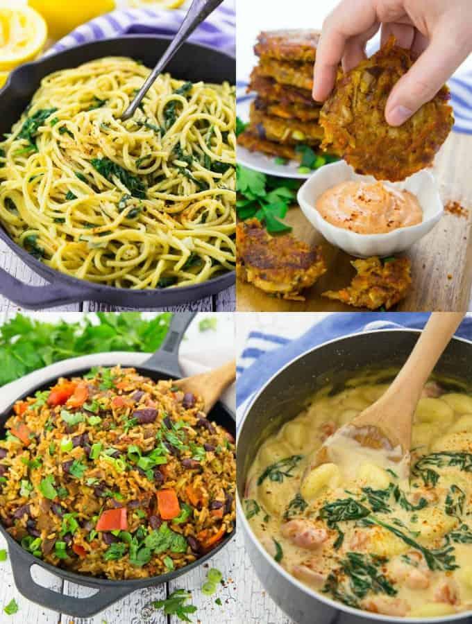 Vier vegane Gerichte in einer Collage