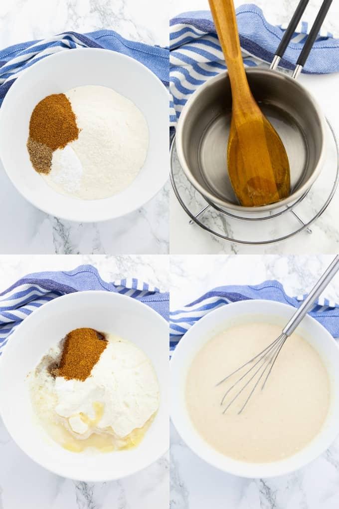 eine Collage aus vier Fotos, die die Zubereitung von veganen Pfannkuchen zeigen