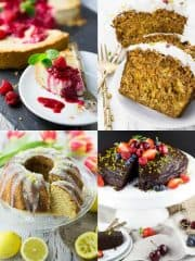 Veganer Kuchen - vier Fotos von veganem Kuchen in einer Collage